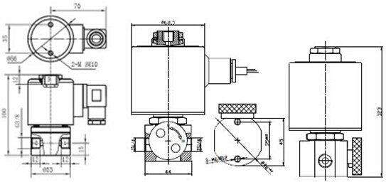 二位三通电磁阀工作原理: 一进一出:常闭式:当线圈通电时,2通向1,1与图片